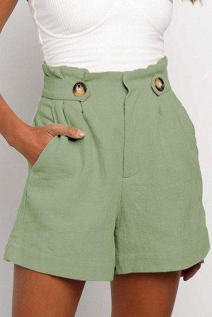 Зеленые расклешенные шорты с высокой талией и боковыми карманами