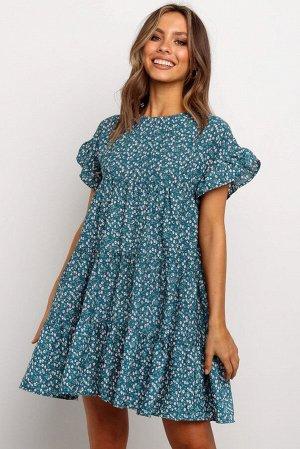 Синее свободное платье-бебидолл с цветочным принтом и воланами