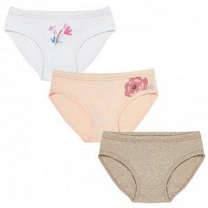 Комплект (трусы 3 шт) для девочки, белый, розовый, бежевый меланж