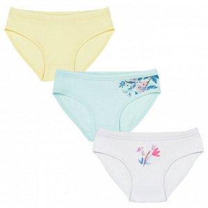 Комплект (трусы 3 шт) для девочки, белый, св.голубой, ваниль