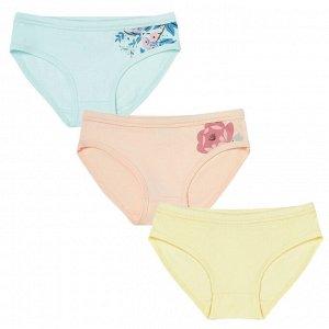 Комплект (трусы 3 шт) для девочки, розовый, св.голубой, ваниль