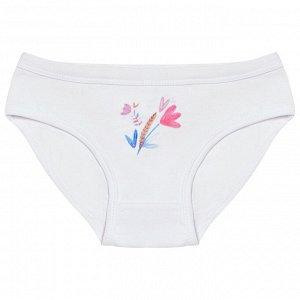 Комплект (трусы 3 шт) для девочки, белый, розовый, св.голубой