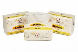 "Салфетки в мягкой упаковке  ""INSHIRO"" EkoNeko   2-х. сл. белые  (спайка 6*150 шт.)"