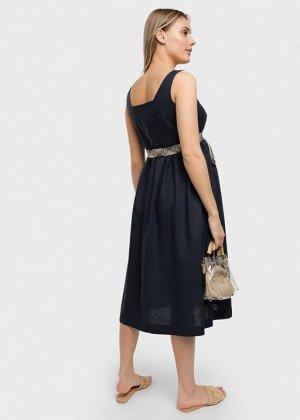"""Летнее платье-сарафан с пуговицами и поясом для беременных и кормления """"Грация""""; синий"""