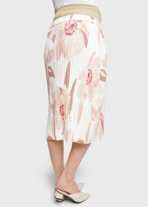 """Летняя юбка плиссе с цветами на резинке для беременных """"Снежана""""; пудровый"""