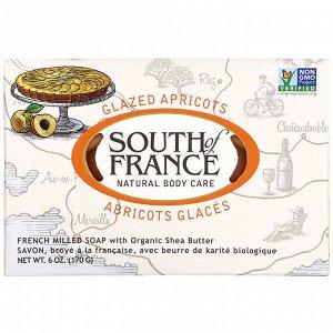 South of France, Кусковое мыло французского помола с органическим маслом ши, с запахом абрикоса, 170 г