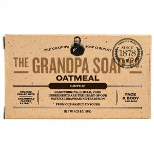 Grandpa&#x27 - s, Кусковое мыло для лица и для тела, успокаивающее, овсяное, 4,25 унции (120 г)