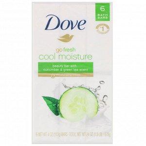 Dove, Косметическое мыло Go Fresh, Cool Moisture, аромат «Огурец и зеленый чай», 6шт. по 113г