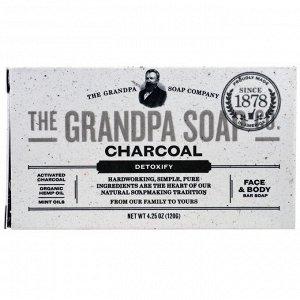 Grandpa&#x27 - s, Кусковое мыло для лица и для тела, антитоксичное, с древесным углем, 4,25 унции (120г)