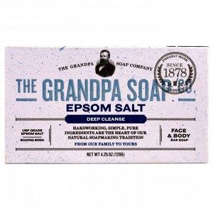 Grandpa&#x27 - s, Кусковое мыло для лица и для тела, глубоко очищает, с английской солью, 4,25 унции (120г)