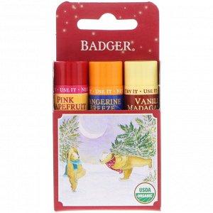 Badger Company, Подарочный набор бальзамов для губ, красная коробка, набор из 3 шт. по 0,15 унции (4,2 г)