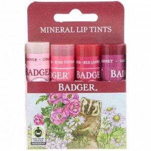 Badger Company, Набор минеральной губной подмады, 4 шт., 0,15 унц. (4,2 г) кажд.