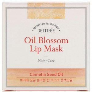 Petitfee, Oil Blossom, маска для губ, масло семян камелии, 15 г