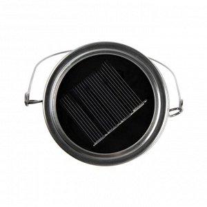 """Светильник-банка """"Прозрачная"""" светодиодный на солнечной батарее 20 LED, с подвесом, БЕЛЫЙ"""