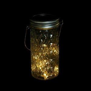 """Светильник-банка """"Граненая"""" светодиодный на солнечной батарее 15 LED, с подвесом, Т.БЕЛЫЙ"""