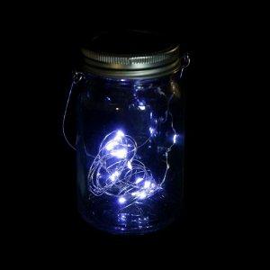 """Светильник-банка """"Прозрачная"""" светодиодный на солнечной батарее 20 LED, с подвесом, Т.БЕЛЫЙ"""