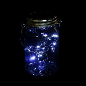 """Светильник-банка """"Прозрачная"""" светодиодный на солнечной батарее 10 LED, с подвесом, БЕЛЫЙ"""
