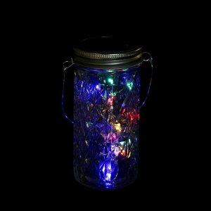 """Светильник-банка """"Граненая"""" светодиодный на солнечной батарее 15 LED, с подвесом, МУЛЬТИ"""