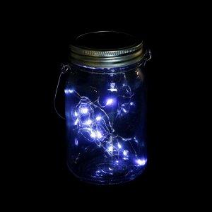 """Светильник-банка """"Прозрачная"""" светодиодный на солнечной батарее 15 LED, с подвесом, БЕЛЫЙ"""