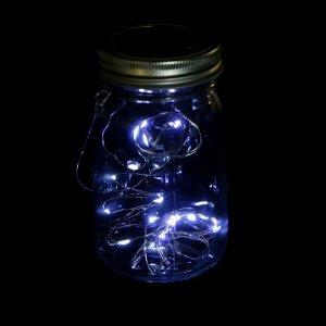 """Светильник-банка """"Прозрачная"""" светодиодный на солнечной батарее 15 LED, с подвесом, МУЛЬТИ"""