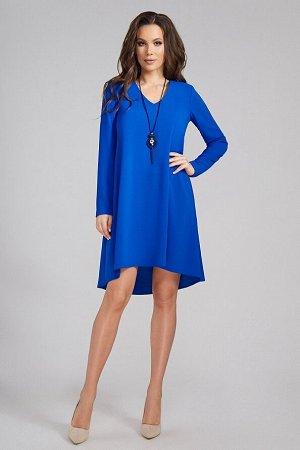 Платье Состав 100% ПЭ Платье-трапеция с каскадным низом. Горловина V-образная. Рукав втачной двухшовный, длинный. Длина изделия - 99 см.
