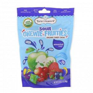 Torie & Howard, Органический продукт, Кислые жевательные фруктовые конфеты, Ассорти вкусов, 4 унц. (113,40 г)