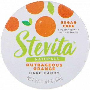 Stevita, Naturals, леденцы без сахара, возмутительный апельсин, 40 г