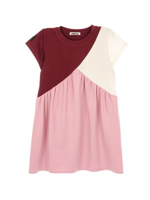 Платье Состав: хлопок 92%, эластан 8%  Платье трёхцветное, с коротким рукавом. В боковых швах карманчики. Изготовлено из кулирки с эластаном.