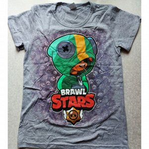 Подростковая футболка Brawl Stars 1071  серая