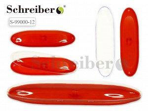 Пластиковый футляр для ручки с прозрачной крышкой, 17х4,5см, цвет КРАСНЫЙ. Производство Россия