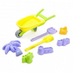 Песочный набор «Тачка», с формочками, граблями, лопаткой, цвета МИКС