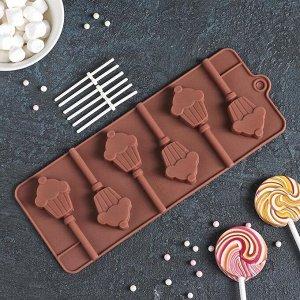 Форма для леденцов и мороженого Доляна «Кексик», 25?9,5?1,5 см, 6 ячеек