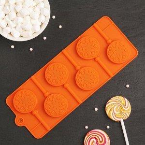 Форма для леденцов и мороженого Доляна «Морозко», 24?9,4?1,5 см, 6 ячеек (4х4 см), с палочками, цвет МИКС