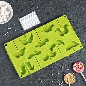 Форма для леденцов и мороженого Доляна «Усы», 28,5?16?2 см, 10 ячеек, с палочками, цвет МИКС