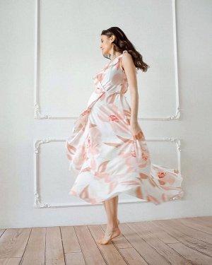 """Длинное летнее платье с цветами на запах с воланом для беременных и кормления """"Василиса""""; пудровый"""