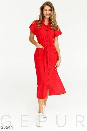 Повседневное льняное платье-рубашка красного цвета