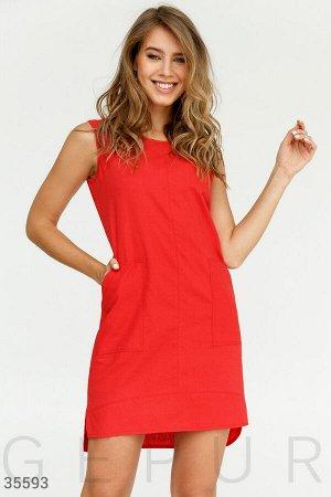 Строгое летнее платье красного цвета