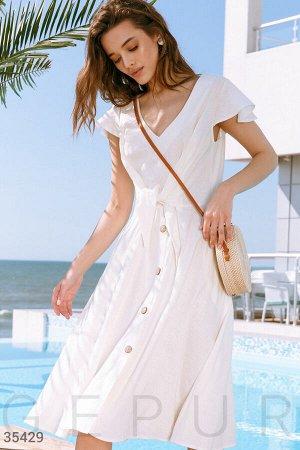 Белое платье с завязками