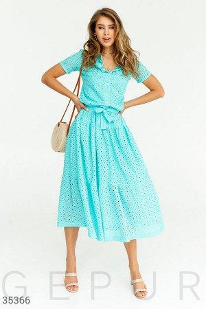Бирюзовое платье-миди