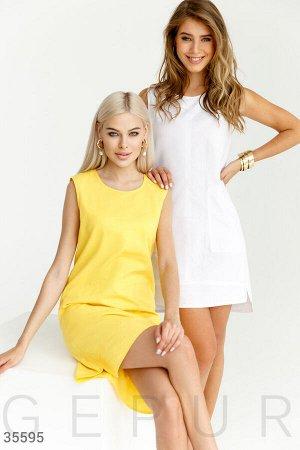 Строгое летнее платье желтого цвета