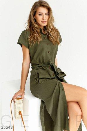 Повседневное льняное платье-рубашка