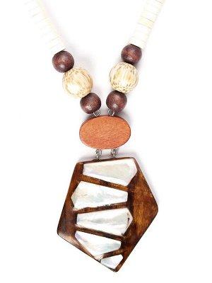 10122531 Колье Mindora в стиле этники выполнено из дерева и перламутра- Бижутерия Selena