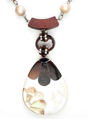 10122491 Колье Mindora в стиле этники выполнено из натуральных камней и перламутра - Бижутерия Selena