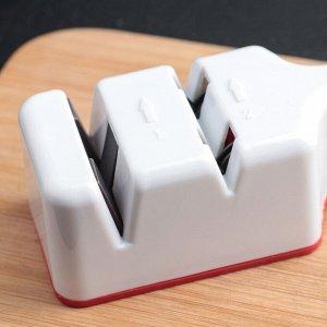 Точилка для ножей стальных и керамических, 2 заточки-шлифовки, цвет МИКС