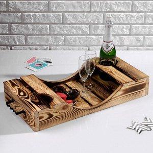 Поднос для вина под две бутылки, ручки металлические, обожжённый, МАССИВ, 30?60 см