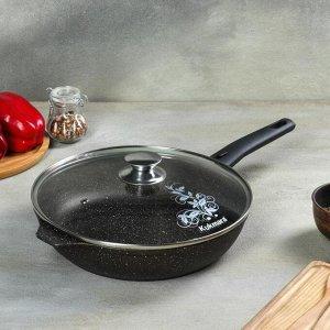 Сковорода d=26 см, со съёмной ручкой, стеклянная крышка, антипригарное покрытие, кофейный мрамор