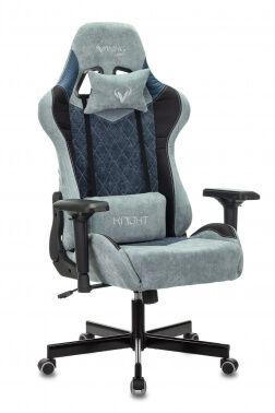 Кресло игровое Бюрократ VIKING 7 KNIGHT Fabric синий текстиль/эко.кожа с подголов. крестовина металл