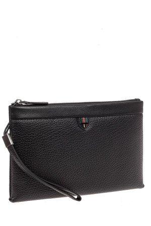 Кожаная мужская сумка клатч под документы, цвет черный