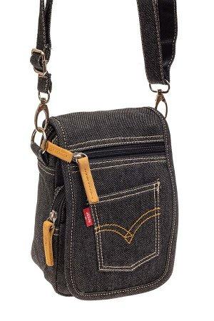 Маленькая мужская сумка через плечо из джинсы, цвет темно-серый