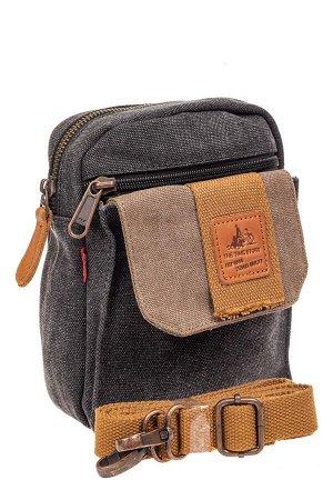 Маленькая мужская сумка через плечо или на пояс, цвет серый